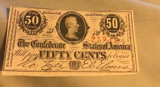 1864 50c Confederate States Richmond Virginia Currency Xf