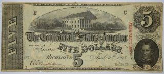 $5 1863 T - 60 Richmond Virginia Confederate States Of America Currency