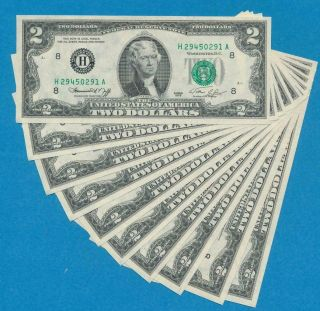 10 - $2.  00 1976 St.  Louis Consecutive Federal Reserve Notes Choice