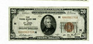 1929 $20.  00 St Louis Federal Reserve Bank National Currency