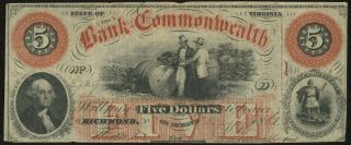 1861 Bank Of The Commonwealth Richmond Virginia $5 Five Dollar Obsolete Note