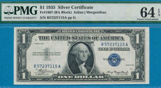 $1.  00 1935 Fr.  1607 Silver Certificates Pmg Choice 64epq
