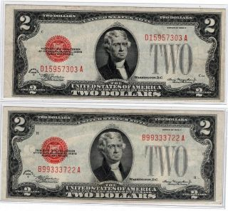 ✯ (2) 1928 Two Dollar Notes Red Seal ✯$2 Bill ✯us Currency✯old Money✯ Xf - Au
