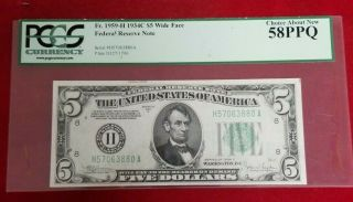 1934 - C $5 Federal Reserve Note Fr 1959 - H Wide Face Pcgs 58 Ppq