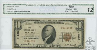 1929 United States $10 First National Bank Of Seattle Note Charter 11280
