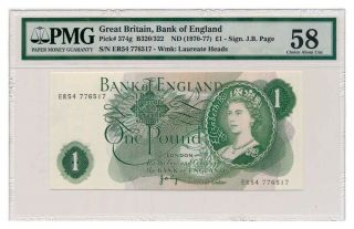 Great Britain Banknote 1 Pound 1970.  Pmg Au - 58