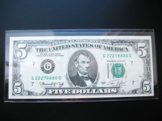 $5 1974 G Chicago Federal Reserve Note Choice Unc Bu Note