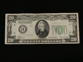 1934 C $20 Federal Reserve Note St.  Louis Xf,