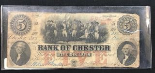 1853 South Carolina Bank Of Chester $5 Bank Note Currency