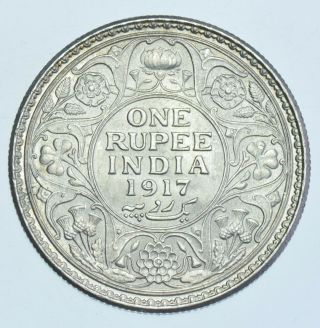 India British George V Rupee,  1917 Calcutta Silver Coin Bu