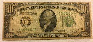 1934 A Frn $10 Dollar Bill - Frn Note - Atlanta Old Paper Money F - A Block