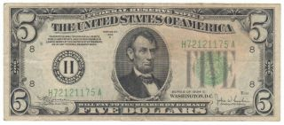 1934 C $5 Five Dollars H St Louis Mo Federal Reserve Note H72121175a Fr 1959