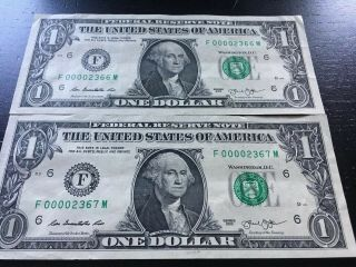 2 Consecutive Low Serial Number $1 Bills 2013 Offer Me