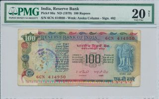 Reserve Bank India 100 Rupees Nd (1979) Pmg 20net