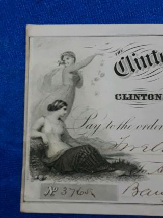 Bank Check,  1873 Obsolete Note From Clinton Bank Of Jersey,  Gorgeous Artwork