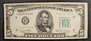 1950 $5 Five Dollars H St Louis Mo Federal Reserve Note H20767361a Fr 1961h 811