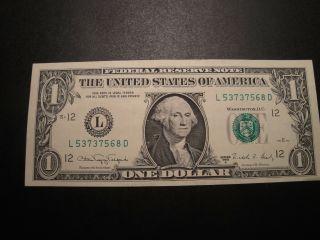 1 $1.00 Series 1977 Federal Reserve  Note XF Circulated Condition