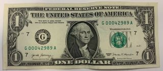 Circulated Dollar Bill Low Serial Number Cool Bill G 0004 2989 A