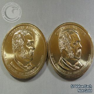 """2012 P&d """" Chester Arthur """" $1 Presidential Dollar Out Of Rolls - 2 Coins"""