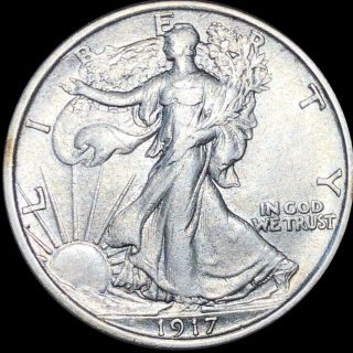 1917 Walking Half Dollar Closely Uncirculated Liberty Silver Philly Collectible