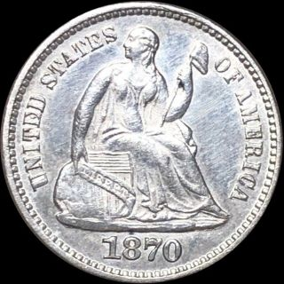 1870 Seated Half Dime Close Uncirculated Liberty Silver Philly Shiny Collectible