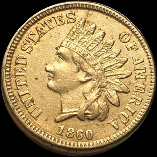 1860 Indian Head Penny About Uncirculated Copper Philly Collectible Cent Nr