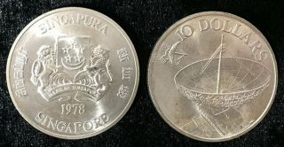 Singapore 10 Dollar Communications Satellites 1978 Silver Coin Unc