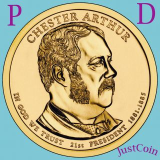 2012 - P Chester Arthur Golden Presidential Dollar From Roll Uncirculated