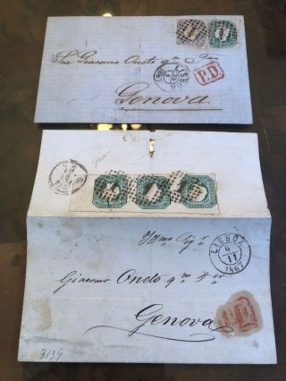Rare Pair 1867 Lisbon Portugal Folded Letter Postal Cover To Genoa Italy