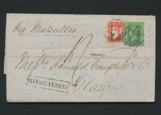 1857 India Cover Moulmein Burma - Glasgow,  Qv Litho,  Rare India Unpaid H/s,  Vf