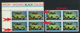 4 Error In Block Very Rare (missing Black Colour) Romania 1975 (car Jeep Aro) Mnh