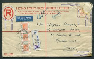 1947 Hong Kong Gb Kgvi 25c Military? (red R) Psre (uprated 3 X $1) To Uk @@ Rare