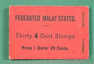 Federated Malay States Stamps 1927 - 30 Booklet Sg Sb13 Rare 30 By 4c (c70)