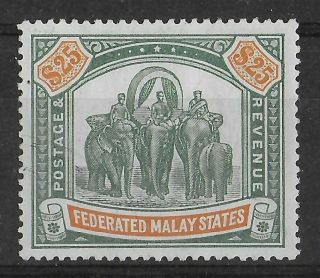 Federated Malay States 1904 - 1922 Nh $25 Green & Orange Sg 51 Cv £2250 Rrr
