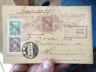 Rare Registered Portuguese Colonial Mozambique Postal Card Cover To Germany