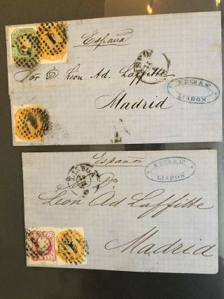 2 1860's Portugal Folded Letter Covers Lisbon To Madrid Spain (post Convention)