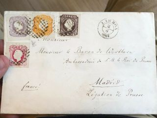 Rare 1864 Portugal Cover Lisbon To Madrid Spain (140 Reis Rate) 11