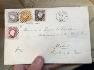Rare 1864 Portugal Cover Lisbon To Madrid Spain (140 Reis Rate)