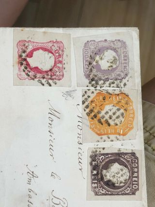Rare 1864 Portugal Cover Lisbon To Madrid Spain (140 Reis Rate) 2