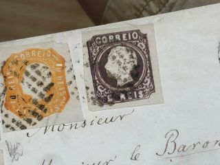 Rare 1864 Portugal Cover Lisbon To Madrid Spain (140 Reis Rate) 5