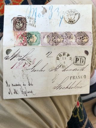 Wow Rare 1860's Porto Portugal To Stockholm Sweden Postal Cover (480 Reis Rate)