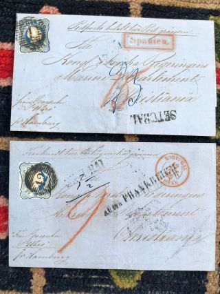 2 Important 1856 Portugal Cover Setubal To Christiania Norway (consulate Office)