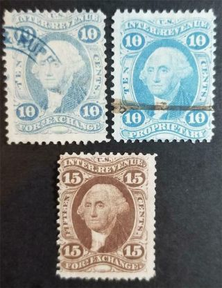 Us Scott R35c R38c R39c Revenue Stamp Lot E2961