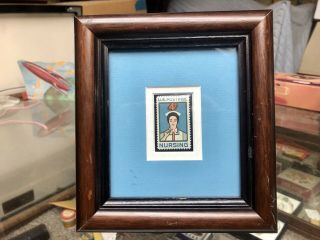 1961 Us 4 Cent Stamp Nursing Commemorative In Wood Frame