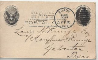 1905 Brady Texas Postal Card Cover To Galveston - Mentions Early Use Of A Phone