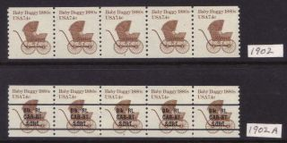Us Scott 1902 & 1902a,  7.  4c Baby Buggy 1880s,  Pnc5,  Both 2,  Complete Set,  Mnh