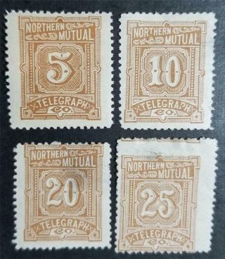 11t1 11t2 11t3 11t4 Northern Mutual Telegraph Co Stamp Lot Mh Og E2914