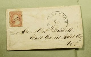 Dr Who 1850s Princeton Nj Fancy Cancel To East Calais Vt E67443