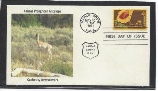Kansas Statehood Fdc 1961 Council Grove,  Ks Only One Made Pronghorn