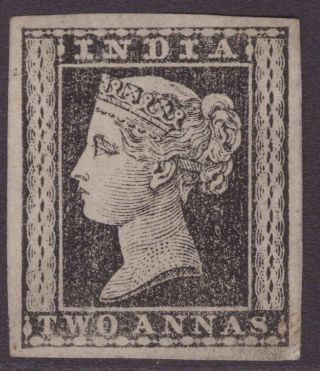 India Typo Qv 1854 Ref 382a Black Proof Colour Trial Un